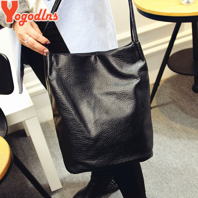 ab78c8e1fb Yogodlns Women Leather Handbags Black Bucket Shoulder Bags Ladies ...