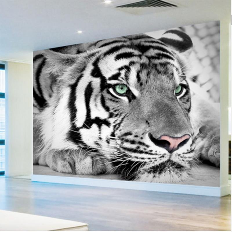3d foto wallpaper harimau hitam dan putih mural hewan for Mural hitam putih