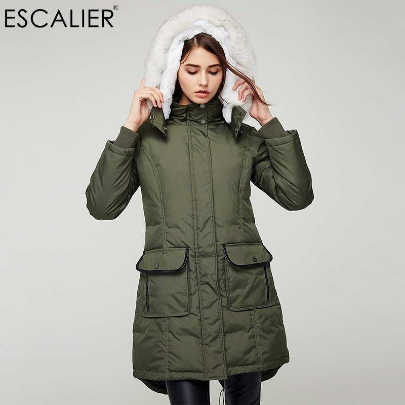Escalier Women Winter   Down     Coats   Army green Navy black 3 Color Removable Fox and Rabbit Fur Collar Thick Outwear Jackets