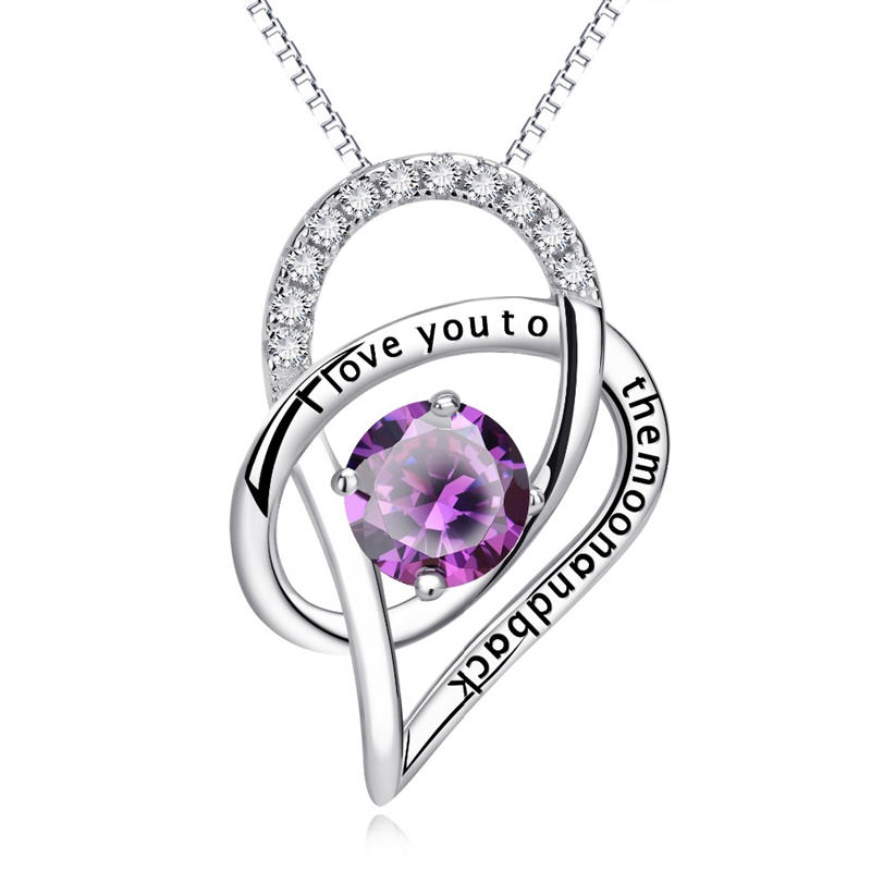 925 Sterling Silver Fine Jewelry Double Love in Love Pendant Necklace Choker Women Girls Party Collar Gift Jewels CHX10302