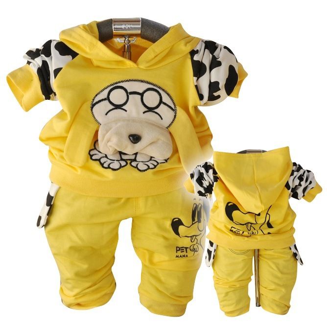 AnlencoolFree shipping newborn Korean children clothing spring puppy hooded suit boys baby clothing set spring boys clotes suit
