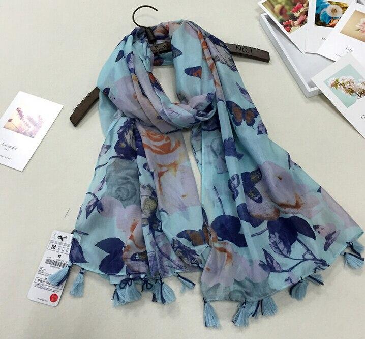 Aniamal Printe papillons fleur coton longue châles nice bandeau motif marque  d été hijab musulman foulards écharpe 10 pcs lot 900828933ec