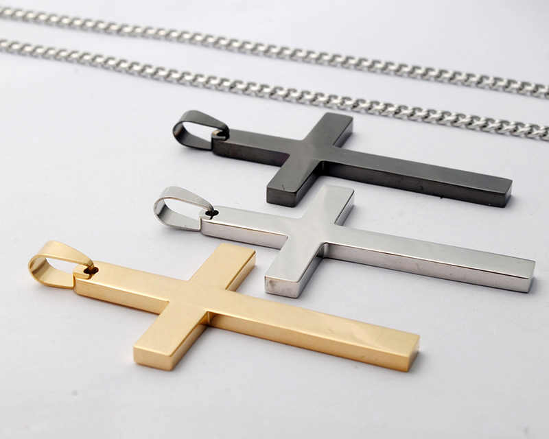 Titanium Steel Cross Pendant Necklace for Men Women Minimalist Jewelry Male Female Prayer Necklaces Choker with 60cm Cuban Chain