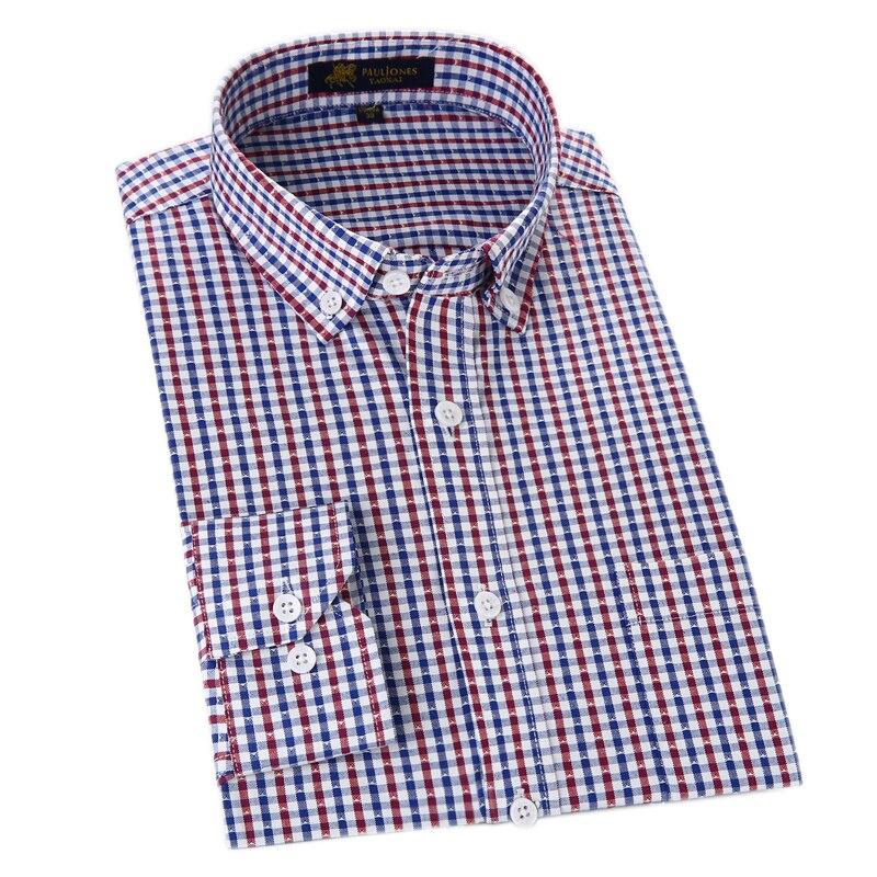 Camisas informales Oxford para hombre, camisas sociales a cuadros no tejidas, camisas de manga larga para hombre, camisas de vestir de estilo clásico para hombre