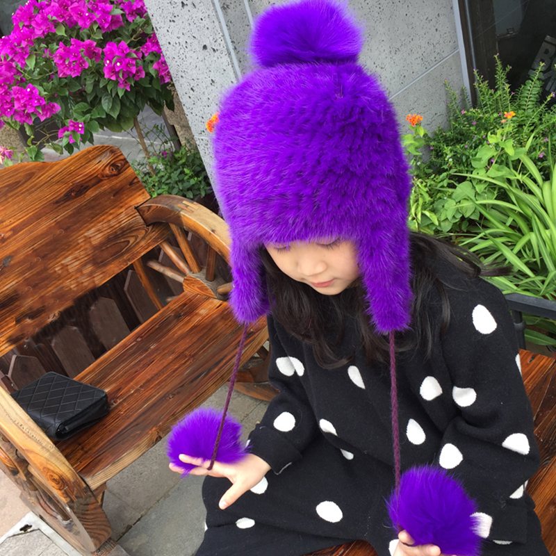 Children Real Mink Knitted Fur Hats Boy Girl Winter Warm Ear Hat For Kids Children Hat High Quality Baby Solid Mink Fur Cap H#23 russian fashion ms mink knitted cap with fox fur pompom ball womens autumn winter warm wear hat straw hat keep warm hat h 03