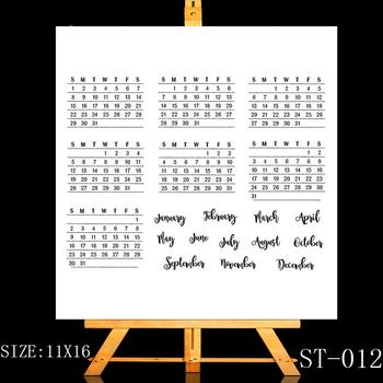 Zhuoyang kreatywny kalendarz znaczek przejrzyste i jasne znaczek scrapbooking do ręcznego dekorowania albumów karty albumu DIY dekoracje Making tanie i dobre opinie ST-012 Dekoracji Standardowy znaczek RUBBER ZhuoAng 4 33x6 3 inch Decoration Standard Stamp Transparent