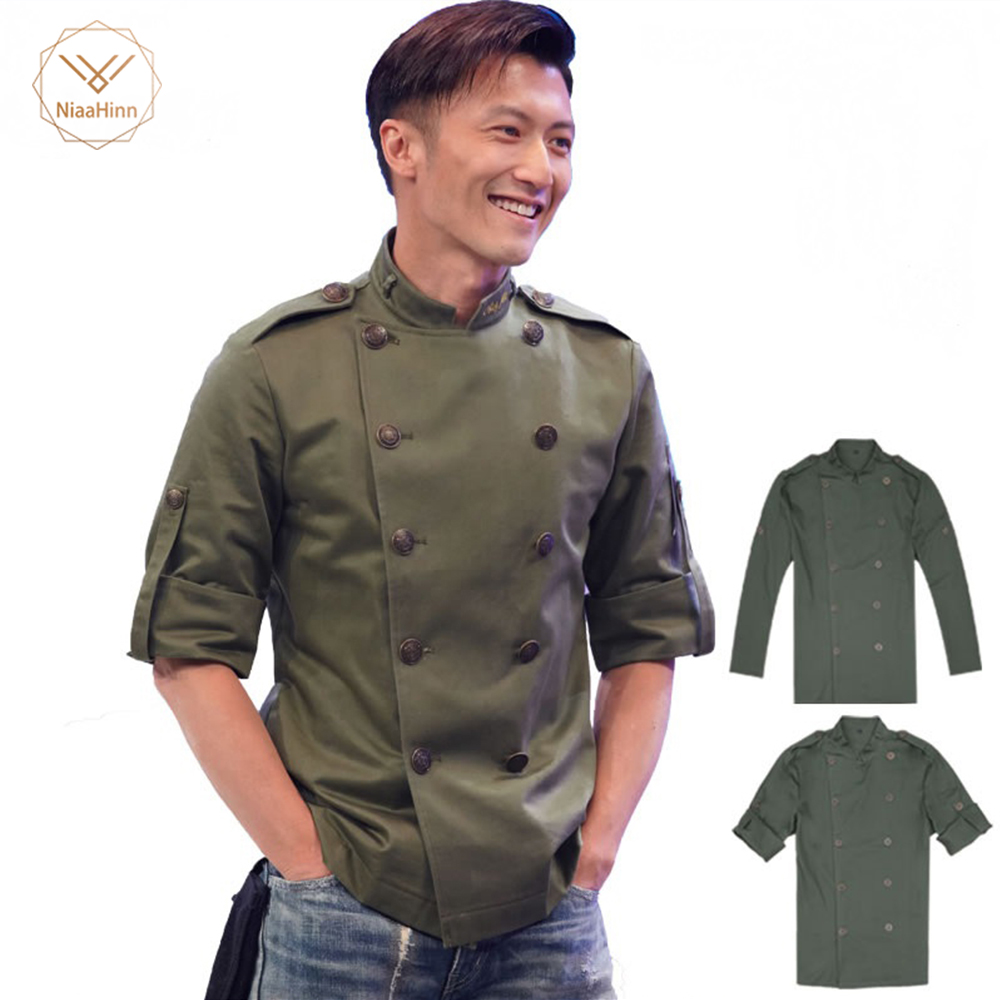 Men Short Sleeves Breathable Double-breasted Chef Food Service Cuisine Cook Workwear T-shirt Kitchen Work Uniforms Aprons New