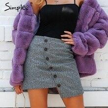 Short Skirt Simplee Vintage Front-Button Streetwear High-Waist Women Pencil Autumn Winter