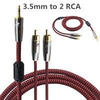 1 m 2 m 3 m 5 m 8 m-Stéréo Jack 3.5mm Mâle à 2 RCA mâle Câble Audio Pour ipod iphone Ordinateur Portable DVD CD Subwoofer Haut-Parleur TV Aux câble