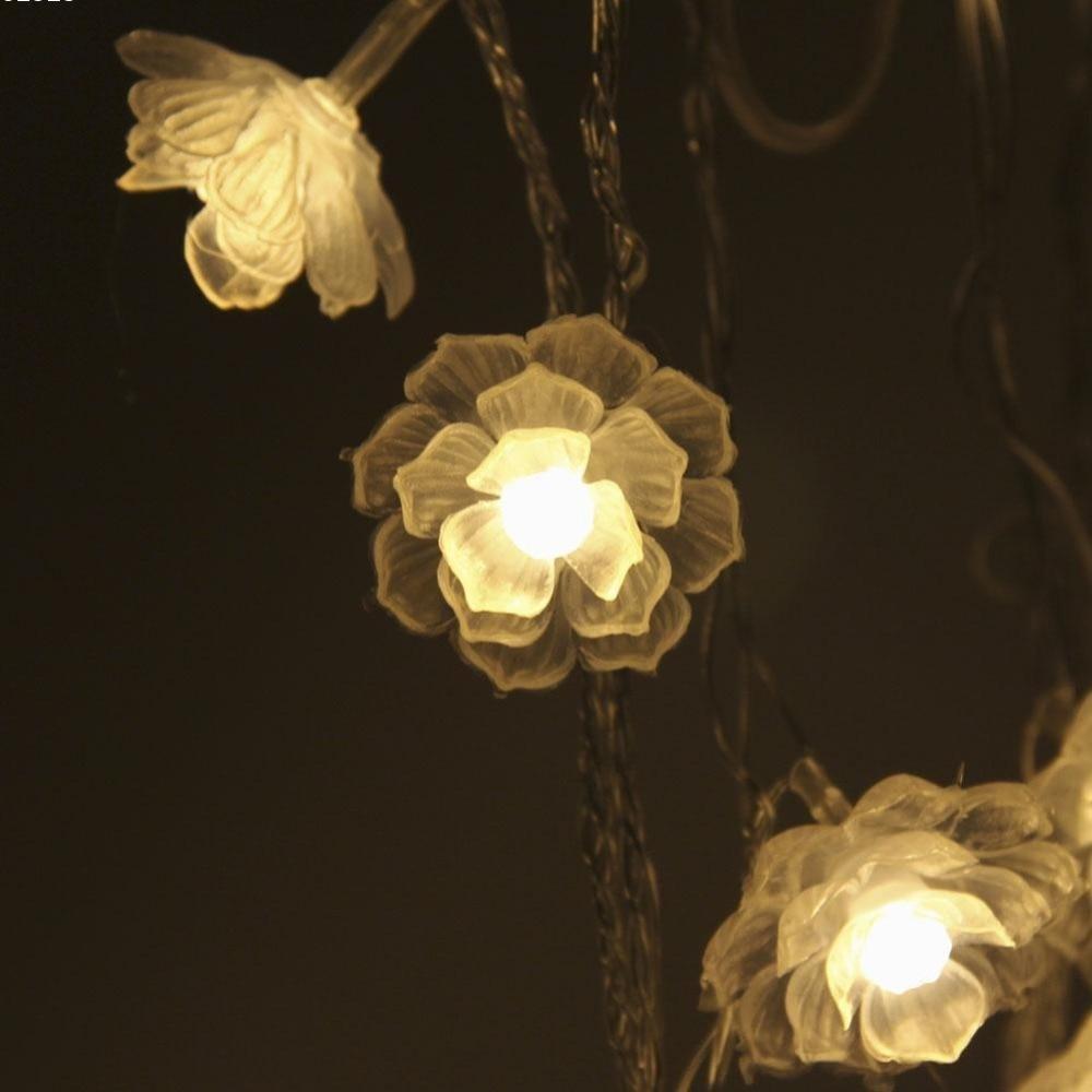 20 və ya 40LED İsti Ağ Camellia Batareya LED String Milad - Şənlik aksesuarları - Fotoqrafiya 3