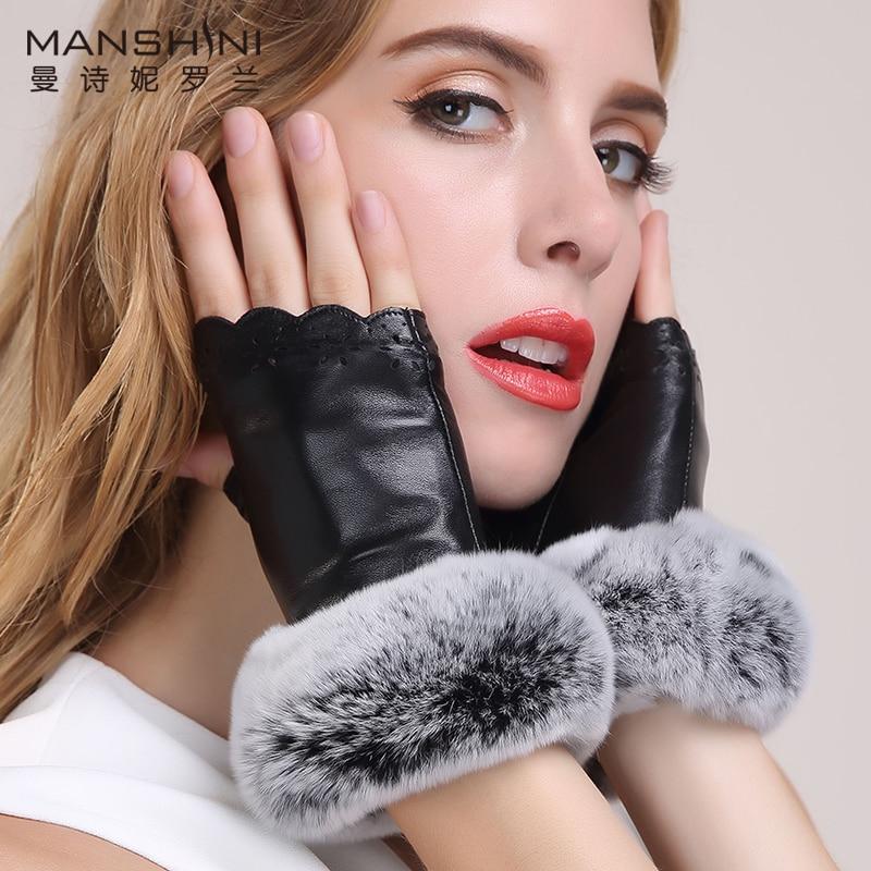 New stylish genuine leather mitten woman rabbit 39 s hair half finger gloves Korean students writing missing finger gloves 099 in Women 39 s Gloves from Apparel Accessories