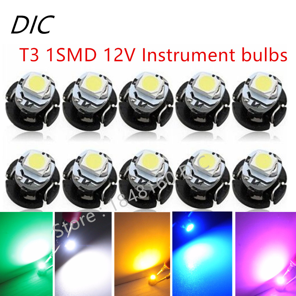 100Pcs T3 1LED 3528 1210 SMD Car Gauges Lights Auto Dashboard Instrument Light Dash Lamp ...
