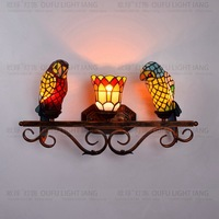 tiffany fashion European style Parrot wall lamp Baroque Bohemia Mermaid mirror light fashion rustic bed lighting lamps