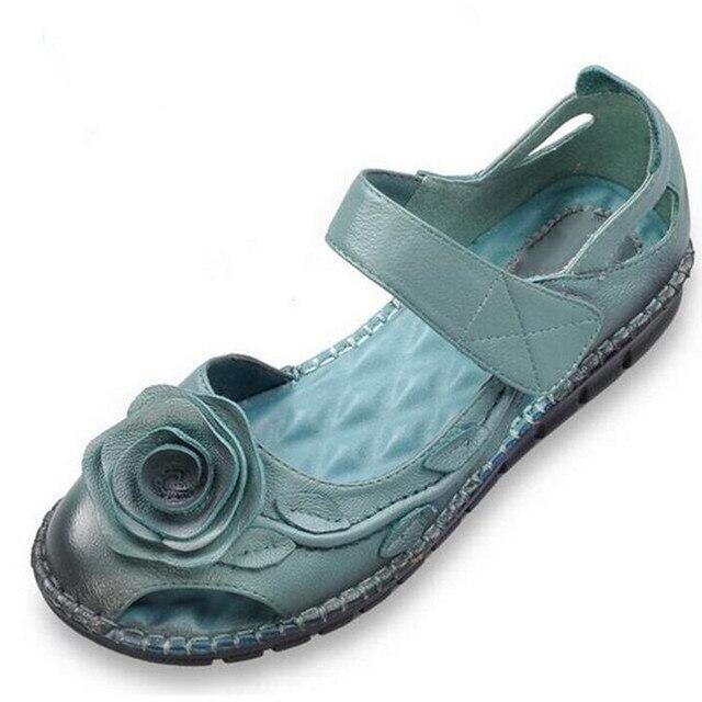 93bda96a 2019 nuevo de piel de vaca de Retro hecha a mano de zapatos de mujer  Sandalias