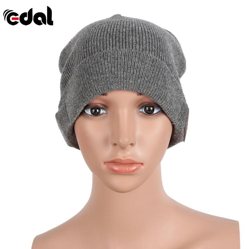 EDAL Wireless Bluetooth Smart Cap Soft Warm Beanie Hat Headset Headphone Speaker Mic Bluetooth Hat Black Gray Color unisex winter plicate baggy beanie knit crochet ski hat oversized cap hat warm light gray