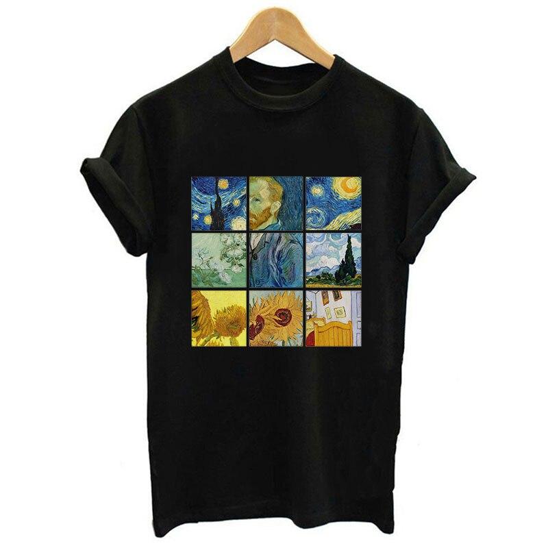 New Van Gogh Art Printed Women T-shirt Black O-neck Short Sleeve Casual Shirts Harajuku Tumblr Tops Vintage Streetwear Tee Shirt