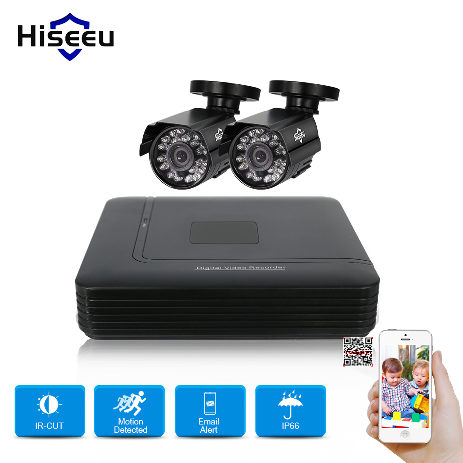 Hiseeu 4CH DVR CCTV sistema 2 piezas cámaras 2CH 1,0 MP IR cámara de seguridad al aire libre 720 p HDMI AHD CCTV DVR 1200 TVL vigilancia Kit