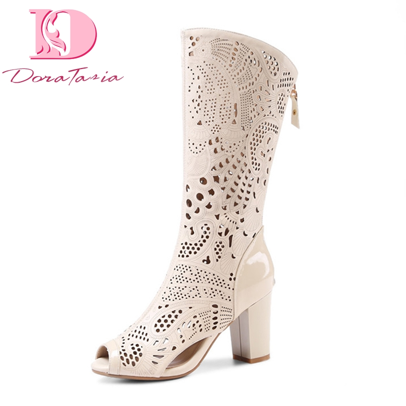 Doratasia New women s Genuine Leather High Heels Hollow Zip Shoes Woman Casual Summer Boots White