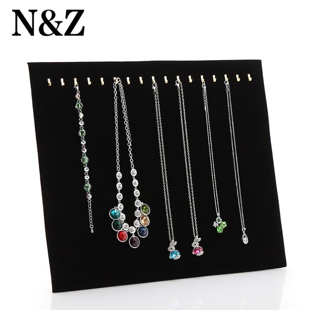 Nu0026Z New Black Velvet Necklace Bracelet Chain Display Holder Easel 17 Hooks  Pendant Organizer Storage Display
