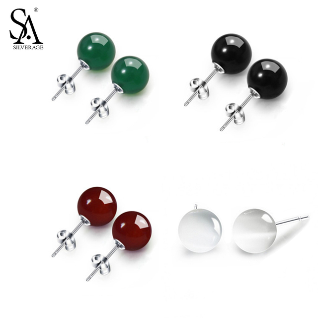 SA SILVERAGE 925 Sterling Silver Opal Stud Earrings Agate Earrings Chalcedony Round Ball Silver Earrings White/Red/Black/Green-in Earrings from Jewelry & Accessories on Aliexpress.com | Alibaba Group
