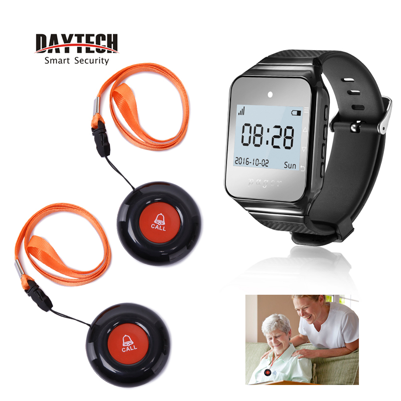 DAYTECH Wireless Calling System Coaster Pager Service Calling System Watch Receiver Waterproof Transmitter Call Button 433MHz wireless service calling system paging system for hospital welfare center 1 table button and 1 pc of wrist watch receiver