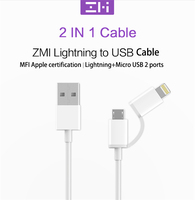 Original XIAOMI Lightning Micro Charger Cable MFI 1m ZMI 2 IN 1 Usb Data Cable Charge android port for xiaomi/huawei/sumsung