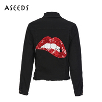Sequin jackets short ripped tassel black denim jeans jacket women coat autumn winter streetwear Long Sleeve Jacket outwear 2017