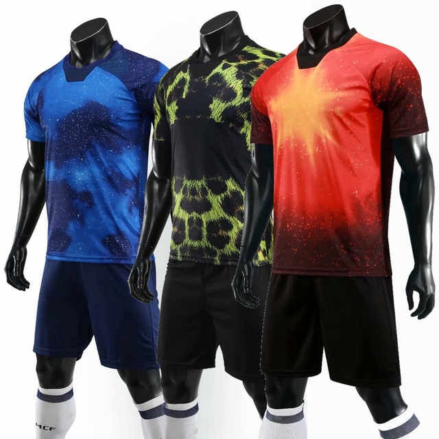 625ee08e1 2019 Soccer Jersey Sports Costumes for Men adult Football blank Kits Summer  cool Print Suits training Clothing Sets Uniforms