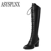 ASYSPLNX 2017 rodilla moda botas punta estrecha de cuero genuino, invierno damas elegantes sobre la rodilla zapatos de las mujeres