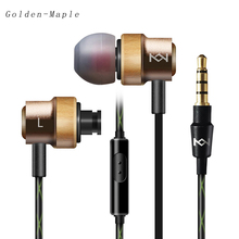 Wire control earphones handmade woodeness cavity stereo noise cancelling HD tone quality hot sell Fashion Leisure Music Headset