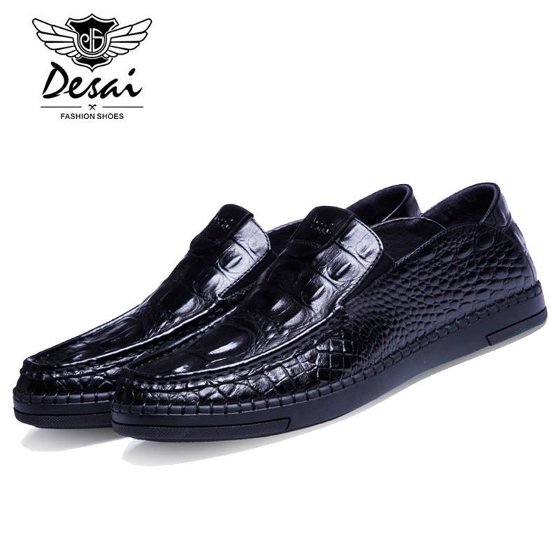 DESAI Fashion Italian Designer Genuine Cow Leather Crocodile Pattern Men's Flats Slip-on Casual Shoes Business Lazy Shoe DS0012 high end breathable men casual shoes loafers genuine leather lace up rubber handmade slip on sewing lazy shoes italian designer