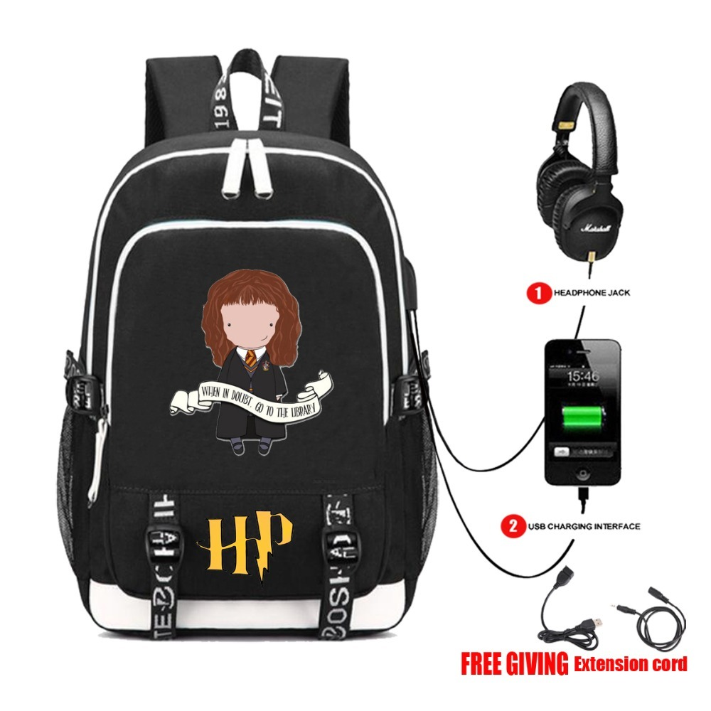 USB Charge Headphone Jack women men shoulder travel bag Teenage Backpacks Laptop bag for movie Harri Potter Backpack 30 style