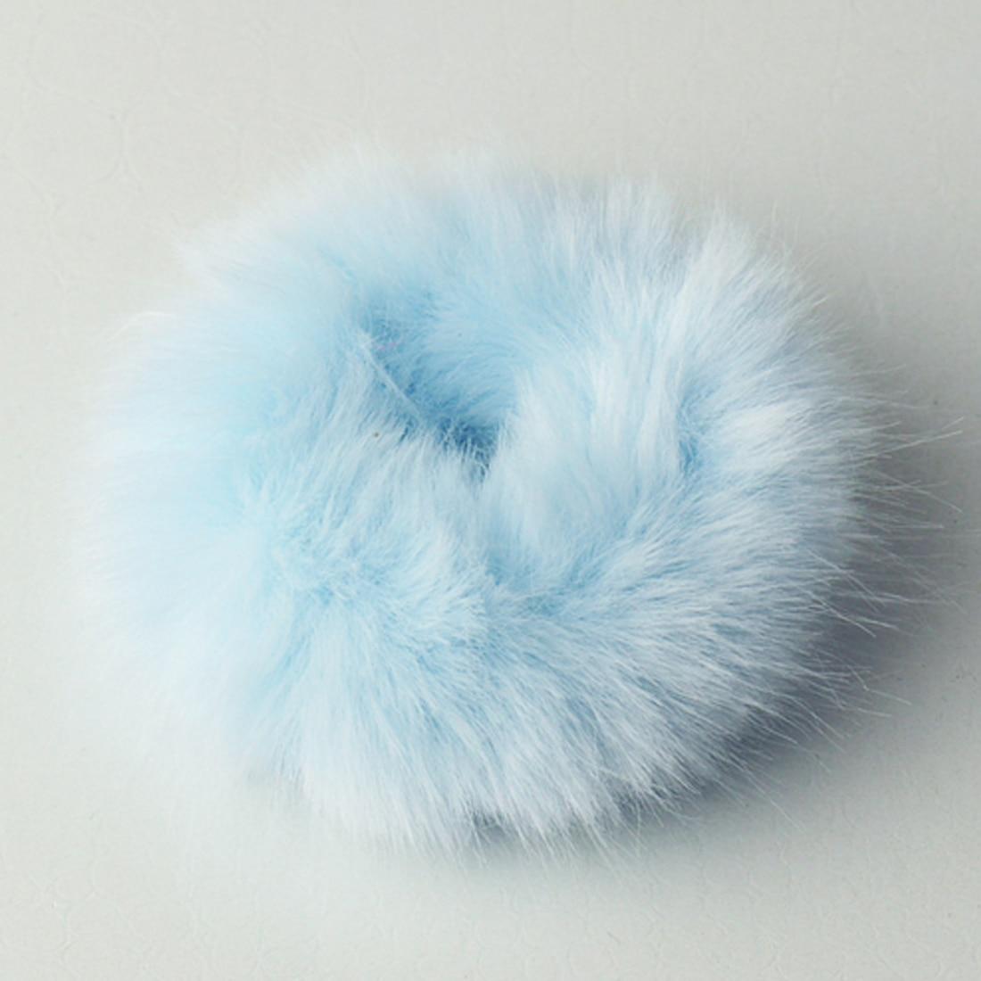 Новинка, настоящая меховая кроличья шерсть, мягкие эластичные резинки для волос для женщин и девочек, милые резинки для волос, резинка для хвоста, модные аксессуары для волос - Цвет: Небесно-голубой