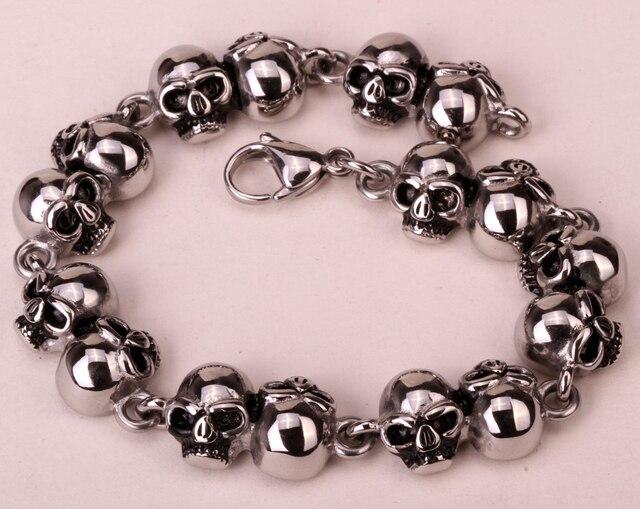 Череп из нержавеющей стали браслет-цепочка для женщин мужчин байкер хип-хоп ювелирные изделия подарки оптовая dropshipping KB14