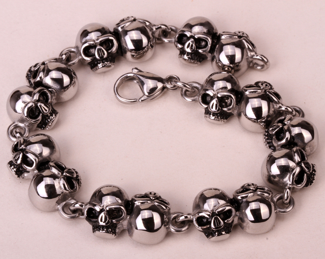 Stainless steel skull chain bracelet for women men biker hiphop jewelry gifts wholesale dropshipping KB14