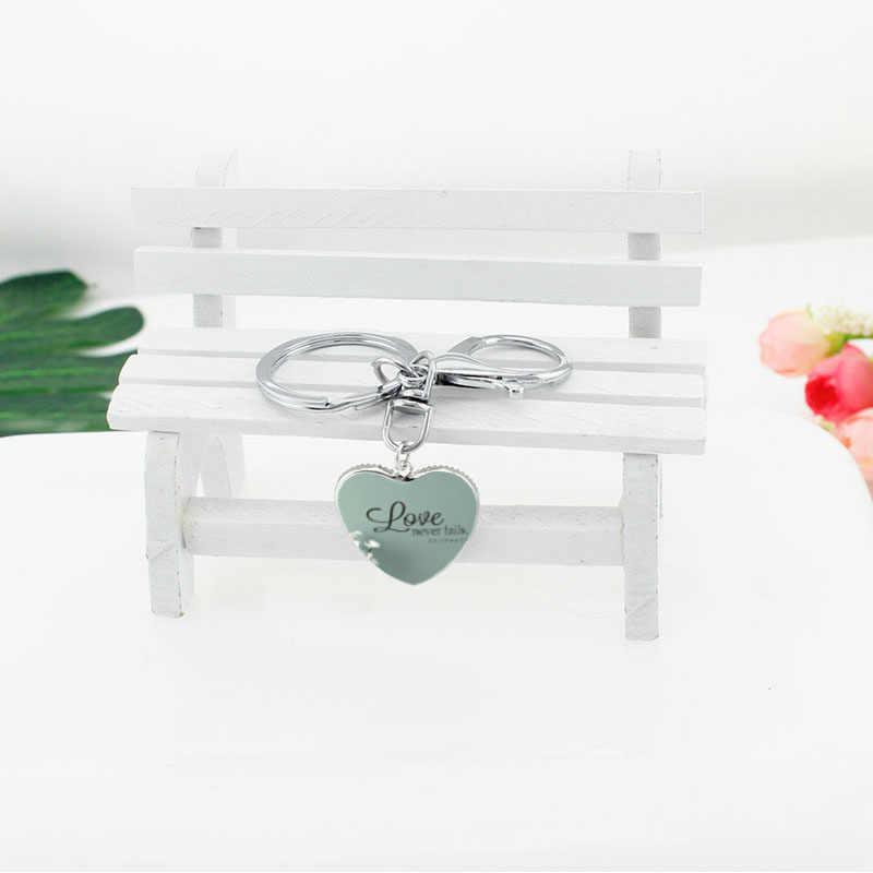2019 nuevo llavero corazón el amor nunca falla 1 Co. 13:8 Biblia citar llavero clásico Quete de vidrio colgantes de joyería