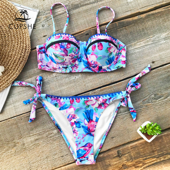 CUPSHE Flora And Lark Birds Print Bikini Sets Women Moulded Cup Push Up Thong Two Pieces Swimwear 2018 Embroidery Tied Swimsuits Купальник