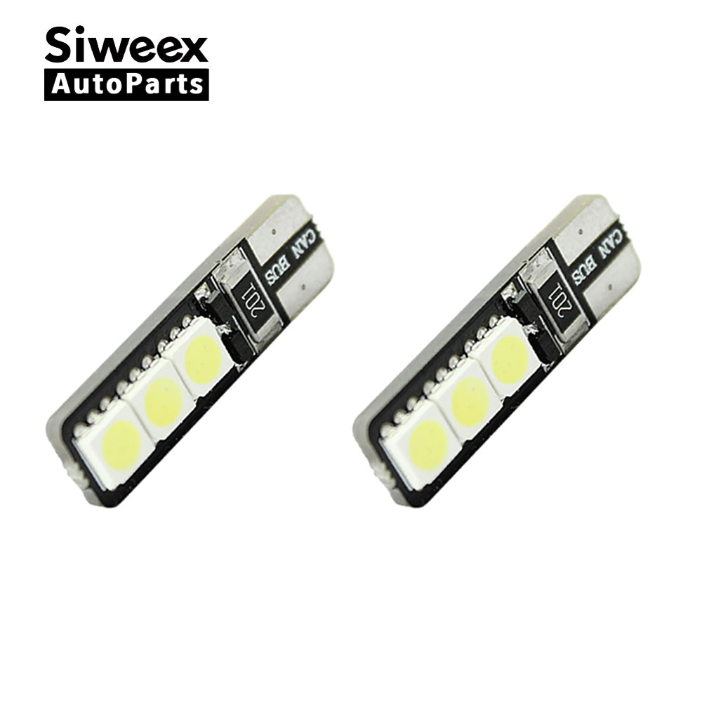 2pcs/lot Bright Double No Error T10 LED 194 168 W5W Canbus 6 SMD 5050 LED Car Interior Bulbs Light Parking Width Lamps