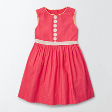 Little Maven New Summer Kids Lovely Sleeveless Red Solid Waistband Floral O-neck Woven  1-6yrs Cotton Girls Lady Vest Dresses