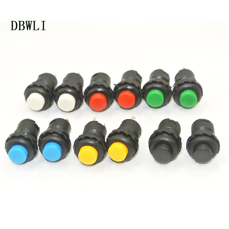 10Pcs  Latching  Self-locking Push Button SwitchON/OFF 12mm  3A /125VAC 1.5A/250VAC Red Green Blue Yellow  Pushbutton Switches