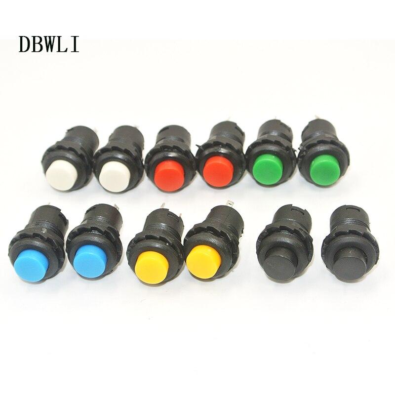 Кнопочный переключатель с самоблокировкой, 10 шт, 12 мм, 3 А, 125 В переменного тока, 1,5 А, 250 В переменного тока, красные, зеленые, синие, желтые пер...