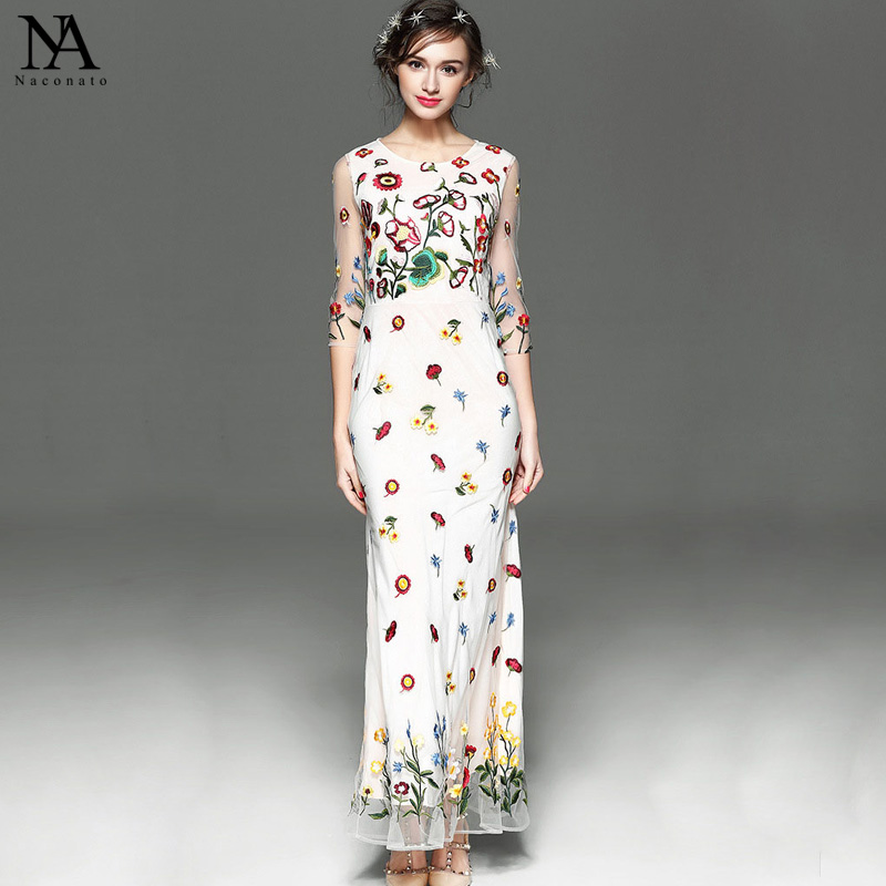 High Quality New Arrival 2018 Womens O Neck 3/4 Sleeves Embroidery Elegant Long Runway Dresses