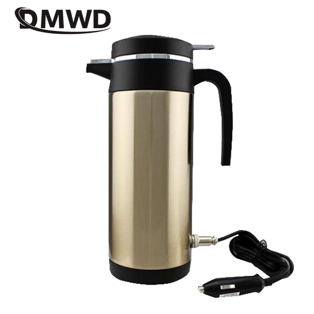 DMWD 12V/24V Vehicle Hot Water Boiling Electric Kettle Travel Truck Thermal Insulation Heating Cup Car Teapot Boiler Bottle 1.2L car mounted magnetized electric water heating cup blue transparent 250ml 12 24v