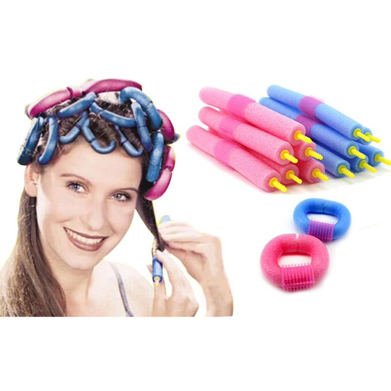 12Pcs Soft Anion Bendy Foam Twist Colorful Plastic Hair Rollers Flexi Hair  Rods Roller Curlers Makers Curls DIY Hair Tools