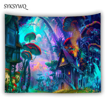 Богемный домашний Декор настенный гобелен висящий огромный гриб дом Сказочный психоделический гобелен