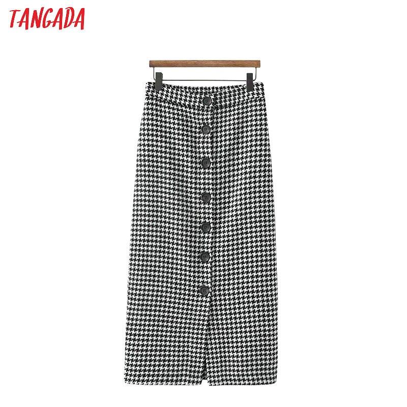 Tangada Women Plaid Tweed Skirt Buttons 2019 Autumn Winter Fashion Office Ladies Midi Skirts Business Vintage XD416
