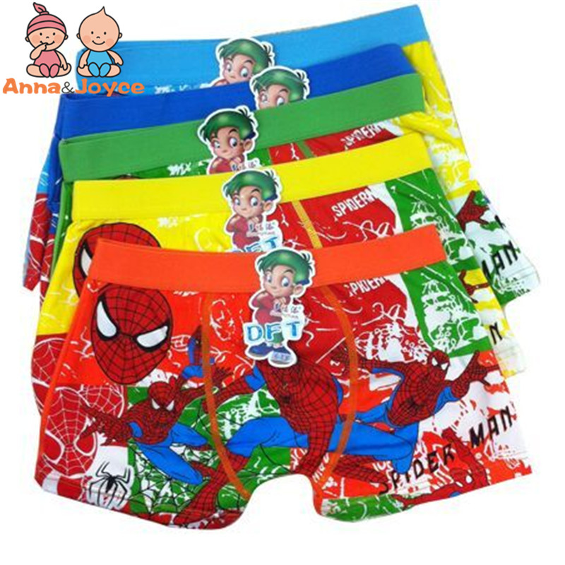 6 Pcs/lot Boys Boxer Children's Cotton Underwear Spiderman Boys Underwear Cartoon Boy Boxers Tnm0006