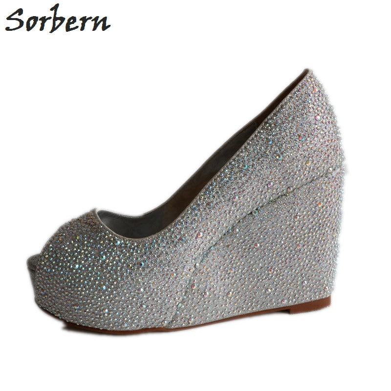 Wedding Silver Heels: Sorbern Silver Rhinestone Wedding Shoes Wedge Peep Toe