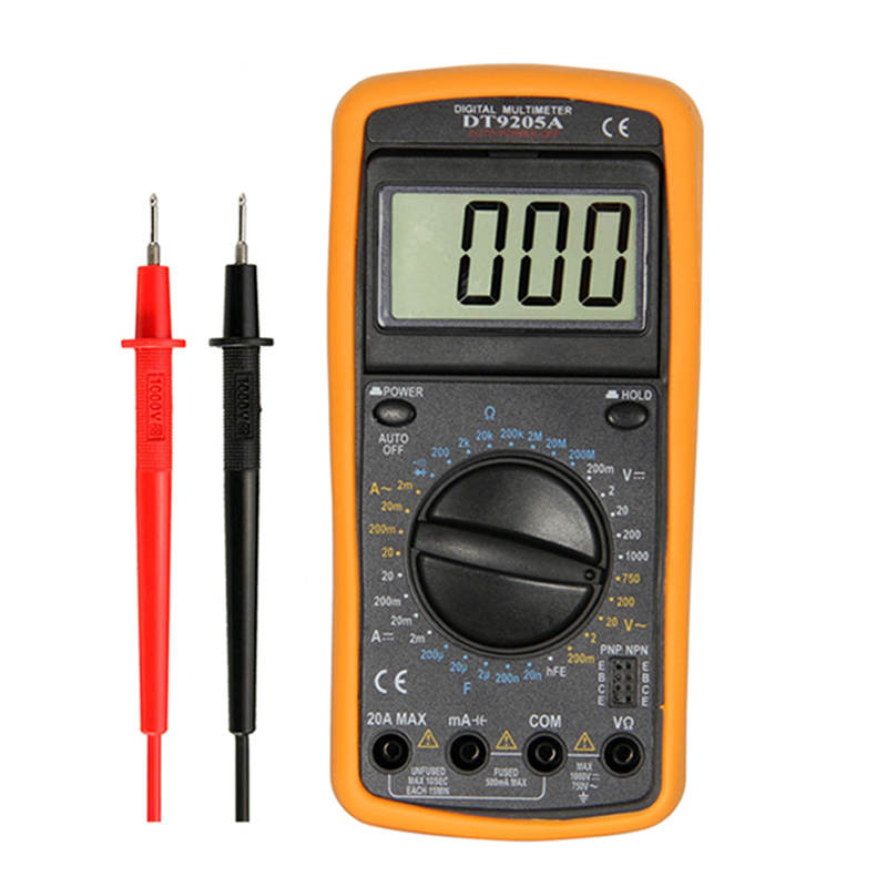 WHDZ DT9205A Professional Digital Multimeter Electric Handheld Ammeter Voltmeter Resistance Capacitance hFE Tester AC DC LCD цена