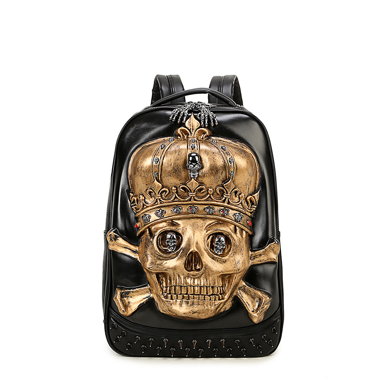 High Quality Restore Leather Skull Backpack Large Capacity Shoulder Pirate Skull Bagpack Travel Students Computer Bag Mochila mco large capacity men restore 3d cool lion backpack gothic embossing bag leather shoulder bag with hood cap travel backpack